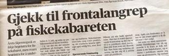 """VIKEBLADET PAPIR: Vikebladet fokuserte på vinnaren av """"Årets Skjemtegauk 2014"""" i sin omtale av festivalen."""